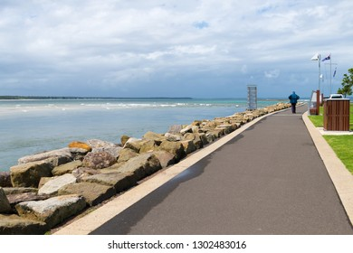Huskisson, NSW, Australia-December 22, 2018: View over the coastal walking path in the city of Huskisson, NSW, Australia, a small coastal town well known as gateway to Jervis Bay area