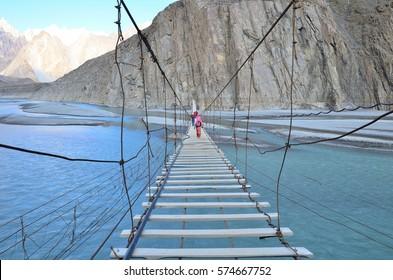 Hussaini suspension bridge along Karakorum highway and hunza river