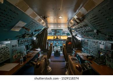 Huston, Texas, USA - September 6th, 2019 - Interior cockpit of the Antonov
