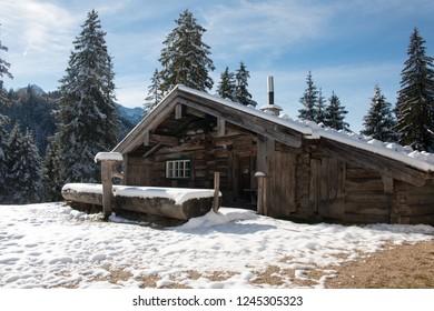 A hut in the alps in winter