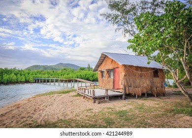 hut beside the sea beach and mangrove forest