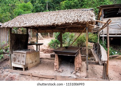 Hut in boca de valeria, brazil. Primitive dwelling hut with dried grass roof. Farm or village in tropic with hut. Eco park. Hut architecture.