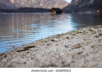 Hut inside lake