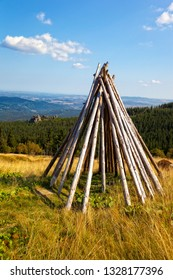 A hut made of piles on a glade in Karkonosze, Poland.