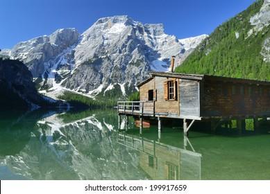 Hut on Braies Lake, Dolomites, Italy