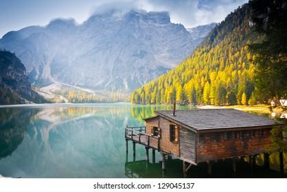 Hut on Braies lake and Dolomiti, Trentino Alto Adige, Italy