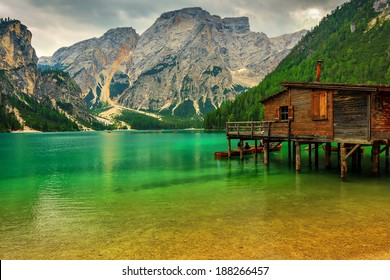 Hut on Braies Lake in Dolomiti mountains and Seekofel in background,Sudtirol,Italy