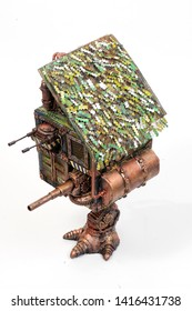 hut on the foot of the militarized with a machine gun and