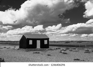 Hut on the shingly wastelands near Dungeness make for some bleak set-pieces