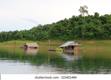 Hut raft at Vajiralongkorn dam. Lake in Thong pha phum , kanchanaburi , Thailand