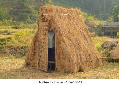 Hut from rice straw