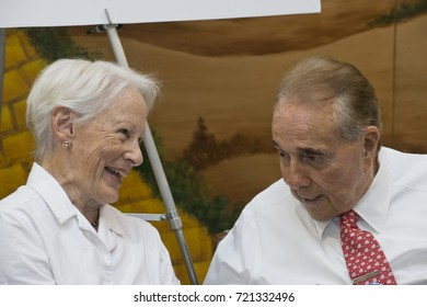 Hutchinson Kansas USA, 19th September, 2015Former Kansas Senators Robert Dole and Nancy Kassebaum chat with each other while meeting and greeting Kansas State Fair goers.