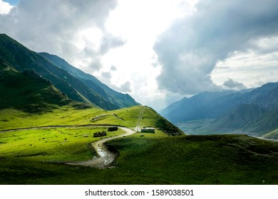Huts dotting a hill of Babusar Mountain Pass (elevation 4,173 metres). The Babusar Pass connects Khyber Pakhtunkhwa with Gilgit Baltistan, Pakistan.