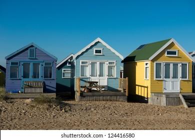 Huts at Hengistbury Head near Christchurch in Dorset. England