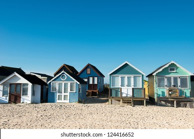 Huts at Hengistbury Head near Christchurch in Dorset. England