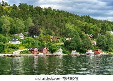 Huts and houses on the Oslo fjord in Norway.