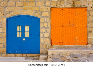 Fisherman's huts, Island of Gozo, Inland Sea, Malta. Blue and orange door.