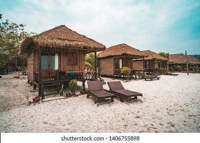 Huts for living on white sand on the beach on the island Koh Rong Samloem, Saracen Bay. Cambodia.