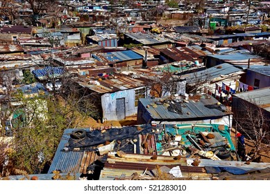 Huts made of metal in the township of Soweto, Johannesburg, South Africa