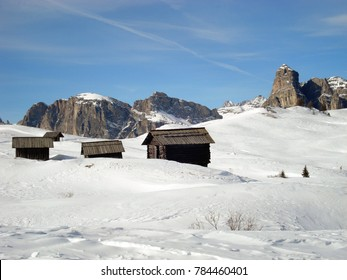 Huts in the mountain, Corvara, Italy