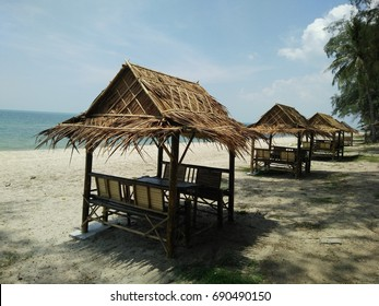 The huts on the beach.