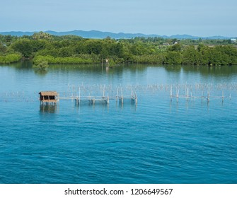 Huts on the sea to keep fish