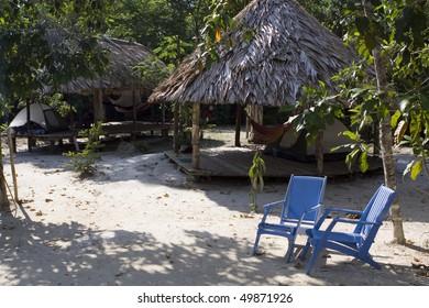 Huts in Surinamese Jungle near Paramaribo