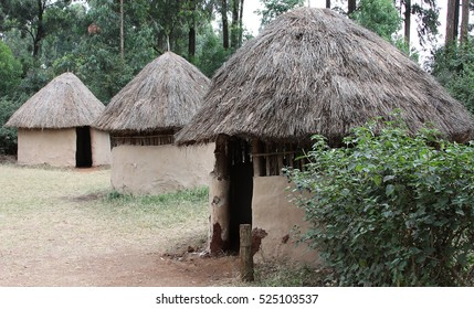 Huts in a traditional Kenyan village