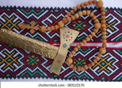 Hutsul clothes elements, small cross wooden