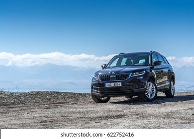 HUTY, THE SLOVAK REPUBLIC, 26. 3. 2017: Skoda Kodiaq 2.0 TDi Style, model year 2017 in Slovakia with view on mountains