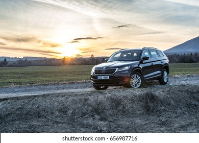HUTY, THE SLOVAK REPUBLIC, 26. 3. 2017: Skoda Kodiaq 2.0 TDi Style, model year 2017 in Slovakia with view on mountains in sunset