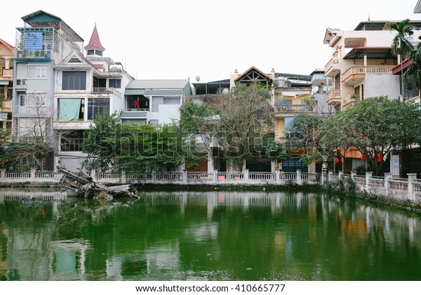 Huu Tiep Lake in central Hanoi, Vietnam, where a wreckage of a downed B-52 bomber from the Vietnam War can still be found.