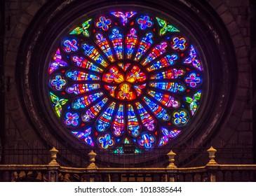 HUY, BELGIUM - JANUAR 30, 2018: Rose window from the Notre-Dame collegiate church. Largest rose window in Belgium.
