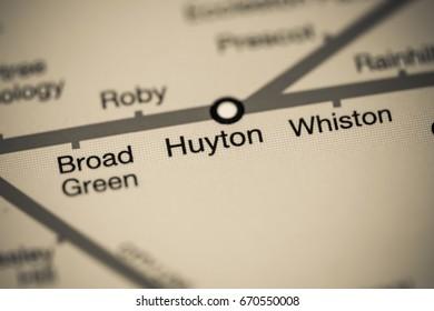 Huyton Station. Liverpool Metro map.