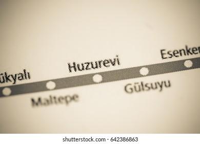 Huzurevi Station. Istanbul Metro map.