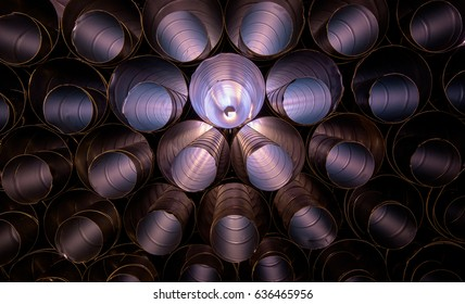 HVAC ducts piled up in a pleasing pattern
