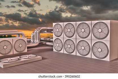 HVAC (Heating, Ventilating, Air Conditioning) units on roof at sun set. 3D illustration.