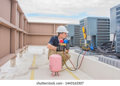 HVAC service technician charging a condensing unit with 410A refrigerant