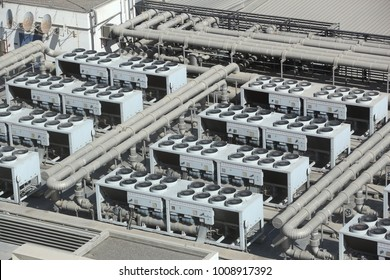 HVAC systems rooftop - industrial air conditioning in an large exhibition hall.