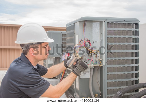 Hvac Technician Working On Capacitor Part Stock Photo (Edit Now