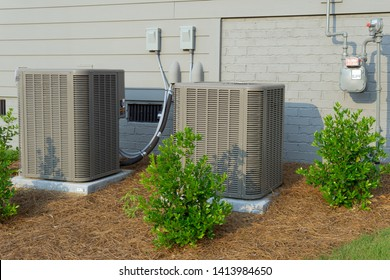 HVAC units connected to residential house