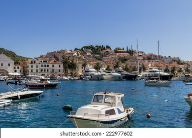 HVAR, CROATIA - JUL 1, 2014: Boats at marina in Hvar, Croatia. Hvar is one of the most popular and most visited destination in Croatia.