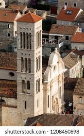 Hvar, Croatia, July 26, 2018: Cathedral of Saint Stephen, a Roman Catholic cathedral in the town of Hvar, on island of Hvar in Split-Dalmatia County, Croatia