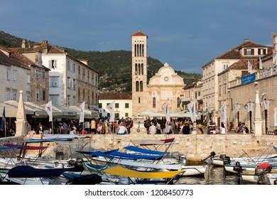 Hvar, Croatia, July 26, 2018: Hvar is a city and port on the island of Hvar, part of Split-Dalmatia County, Croatia.