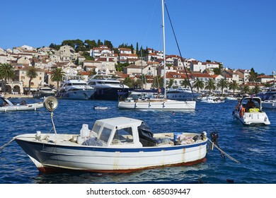HVAR, CROATIA - July 5, 2017: Hvar harbour in old town Hvar. Hear is very popular tourist destination on Dalmatia of Croatia.