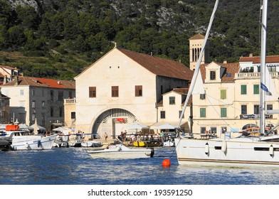 Hvar, Croatia - Jun 25, 2013 : Hvar is a popular holiday resort in Croatia. Arsenal is the Hvar public theatre.