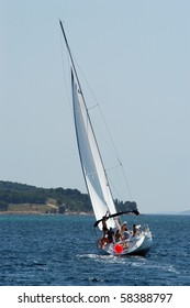 HVAR, CROATIA - MAY 20: Sailing yacht on the Republic Cup international sailing competition on the Adriatic sea on May 20, 2003 in Croatia.