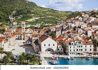 Hvar island, Dalmatia, Croatia. Famous landmark and touristic destination for travel in Europe
