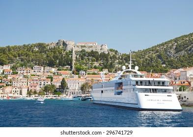 HVAR - June 16 2015: La Belle d`Adriatique ship anchoring in medieval city Hvar on Hvar island - Croatian island in the Adriatic Sea, located off the Dalmatian coast.