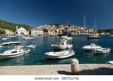 Hvar town harbour, anchorage Croatia.